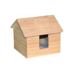 Porte-bloc papier en bois forme maison 120x120x105mm