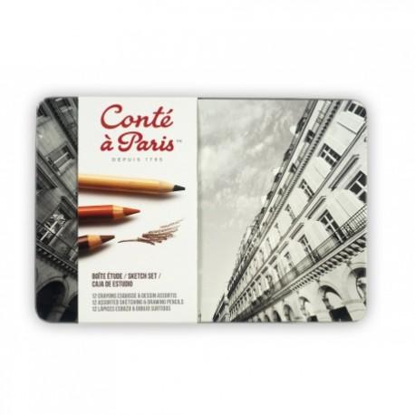 Boîte métal Etude 12 crayons Conté à Paris assortis