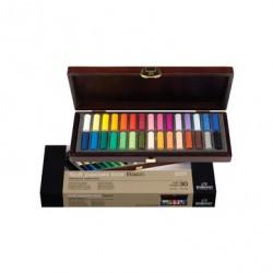 Coffret bois Basic 30 demi-pastels secs Rembrandt