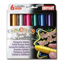 Sticks gouache solide Playcolor Pocket, 6 couleurs métal assorties
