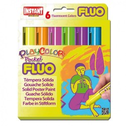 Sticks gouache solide Playcolor Pocket, 6 couleurs fluo assorties