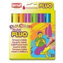 Sticks gouache solide Playcolor Pocket, 6 couleurs fluo assorties