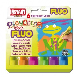 Sticks gouache solide Playcolor One, 6 couleurs fluo assorties