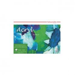 Papier acrylique à grain toilé Acryl 330g/m², pochette x10 fls 50x65cm