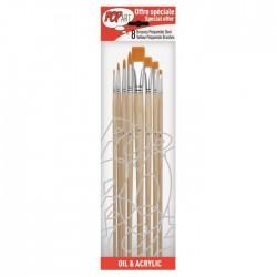 Assortiment pinceaux manche long en polyamide doré, pochette x8 pcs
