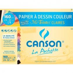 Pochette papier dessin Mi-Teintes 160g/m² couleurs claires