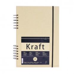 Carnet de croquis Kraft 120g/m², 80 fls spiralées grand côté