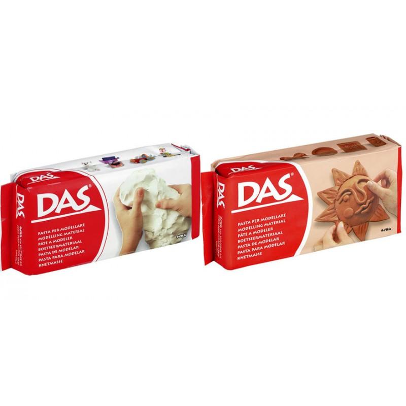 Pâte à modeler DAS autodurcissante blanc ou rouge 500g