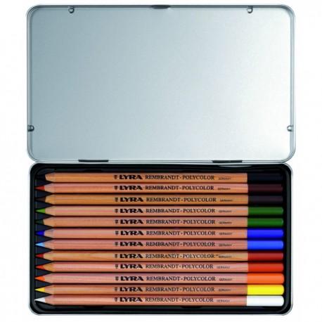 Boîte métal crayons de couleur Rembrandt Polycolor