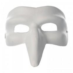 Masque loup vénitien à long nez en plâtre - 105x165x230mm