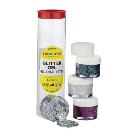 Gels à paillettes 4x 8ml - Argent, multicolores diamant, violet