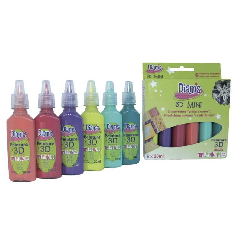 Peinture diam 39 s 3d mini kit 6 couleurs tous supports 20ml for Peinture tous supports