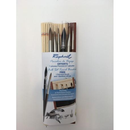 Assortiment 6 pinceaux de voyage Raphaël + pincelier bambou