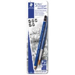 Etui métal 5 crayons graphite Lumograph 100 Aquarelle