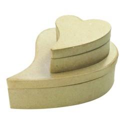 Set de 2 boîtes sexy coeur en papier mâché