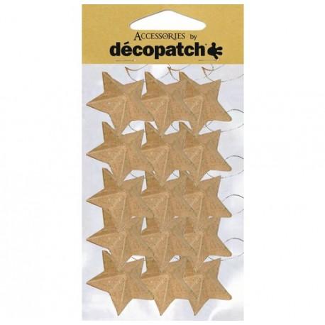 Sachet de 15 étoiles avec cordon - 4.5x4.5x1.5cm