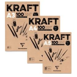 Blocs dessin kraft brun 90g/m², 100 fls
