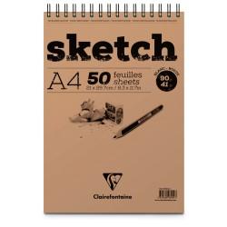 Blocs esquisse Sketch Clairefontaine 90g, 100 fls spiralées