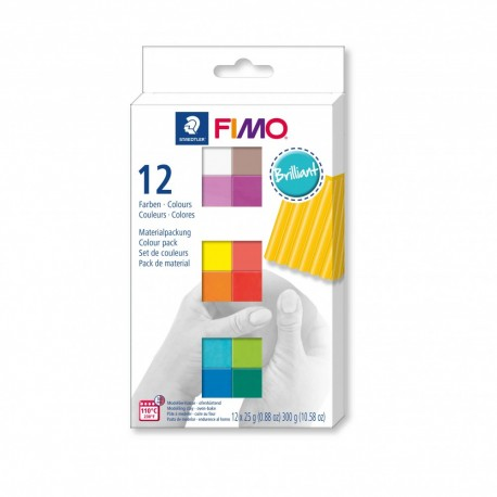 Coffret 12 demi-pains pâte Fimo Soft 25g - Effet brillant