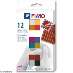 Coffret 12 demi-pains pâte Fimo Soft 25g - Effet Cuir