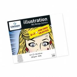 Papier Canson Illustration 250g/m², 4 fls + 1 gratuite